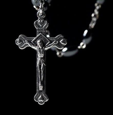 silver cross: metal christian classic rosary background