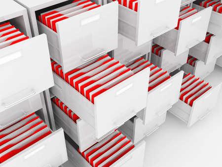 drawers: detail of cabinet folder on white