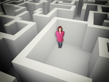 problem solution: standing woman in 3d maze
