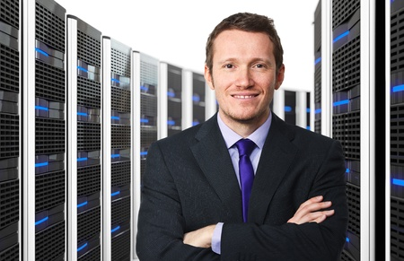 3d image of datacenter with lots of server and happy worker photo