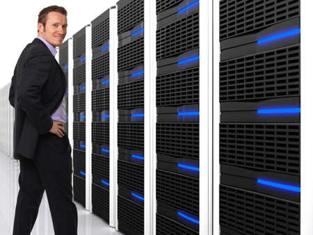 3d image of datacentre with lots of server and happy worker photo