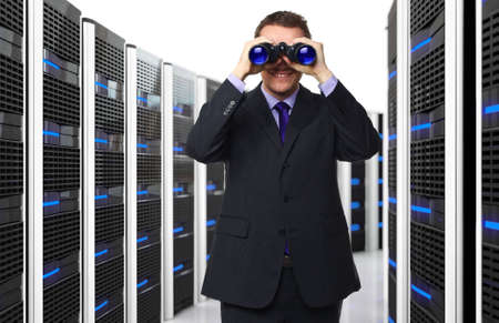 man with binocular and 3d server background photo