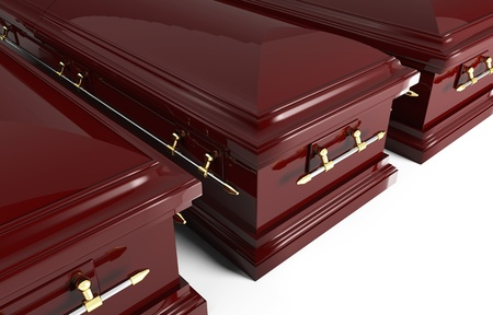 burial: fine image of classic 3d coffin Stock Photo