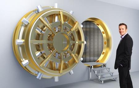 bank vault: smiling man and vault door background