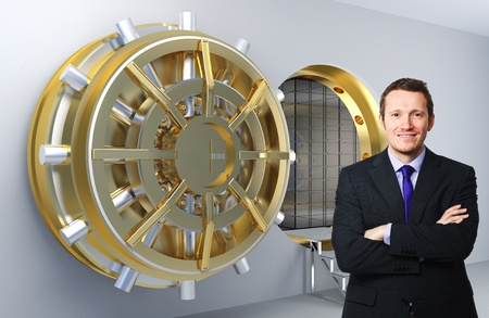 bank vault: smiling businessman and 3d vault background