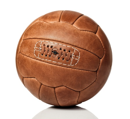 vintage soccer ball on white background photo