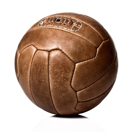 pelota de futbol: imagen de la pelota de f�tbol de cuero retro Foto de archivo