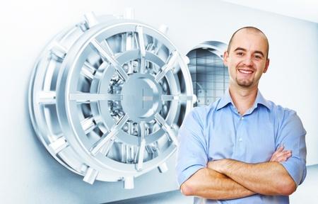 money vault: smiling man and vault door background