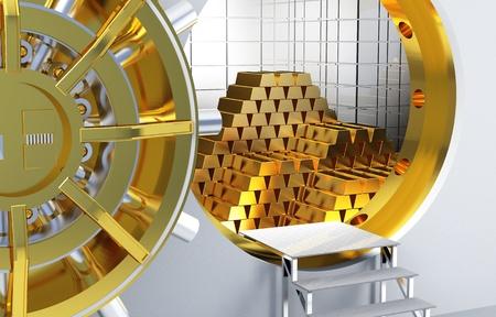 bóveda de banco y un montón de barras de oro