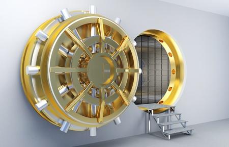 bank vault: 3d image of vault with golden door Stock Photo