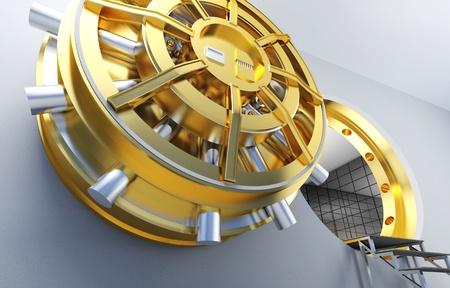 golden door of bank vault photo