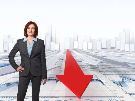 woman and financial 3d background photo