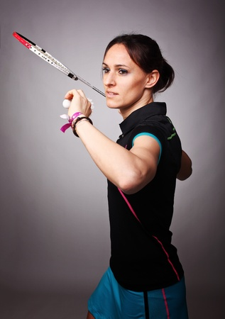 badminton racket: portrait of caucasian woman play badminton Stock Photo