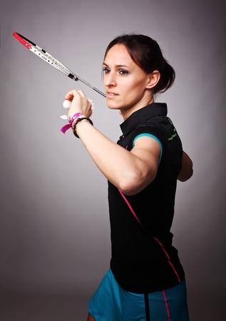 portrait of caucasian woman play badminton Stock Photo - 12667522