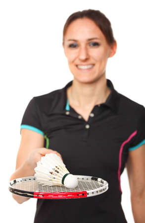 smiling badminton player on white background photo