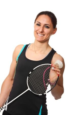 badminton racket: smiling woman with badminton racket