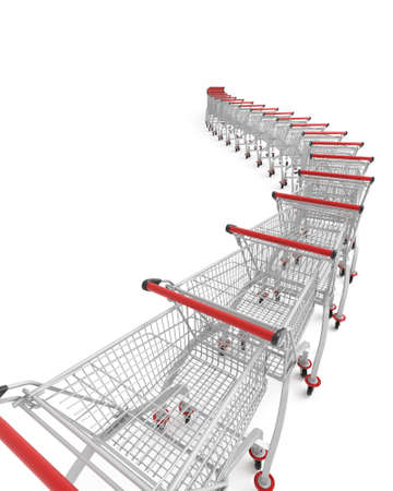 shopping trolleys: 3d image of several shopping trolley