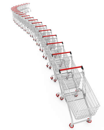 trolley: 3d image of several shopping trolley