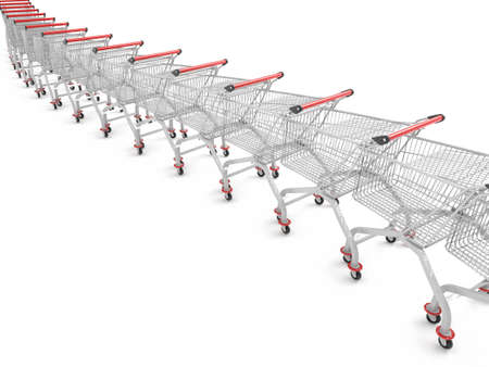 shopping carts: 3d image of several shopping trolley