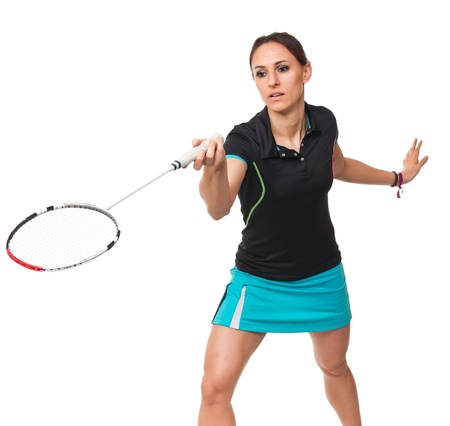 badminton player in action isolated on white background Stock Photo - 12667531