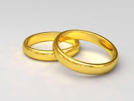 platinum wedding ring: fine 3d image of classic golden wedding rings Stock Photo