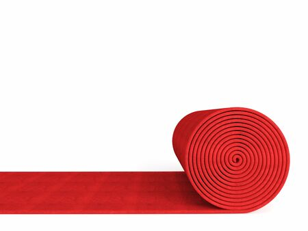 roll: 3d red carpet on white background Stock Photo