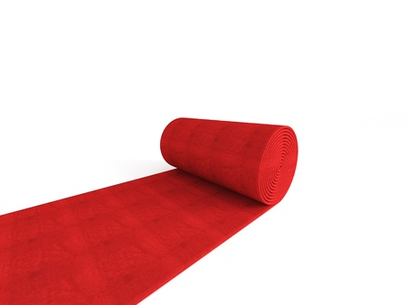 fabric roll: 3d red carpet on white background Stock Photo