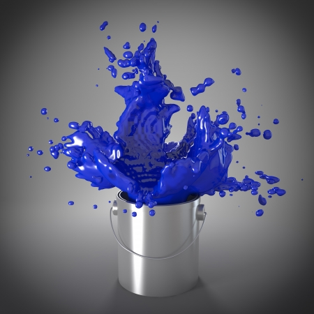 paint cans: explosion of blue color in metal can Stock Photo
