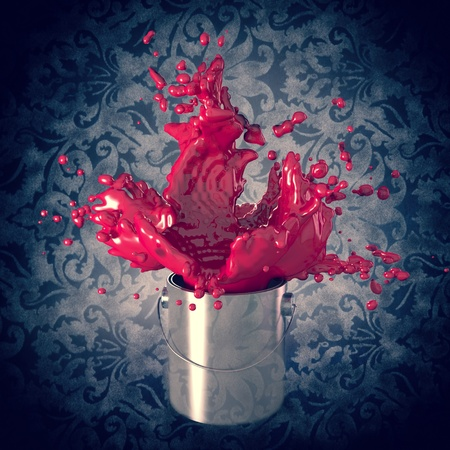 paint container: explosion of paint  color in metal can