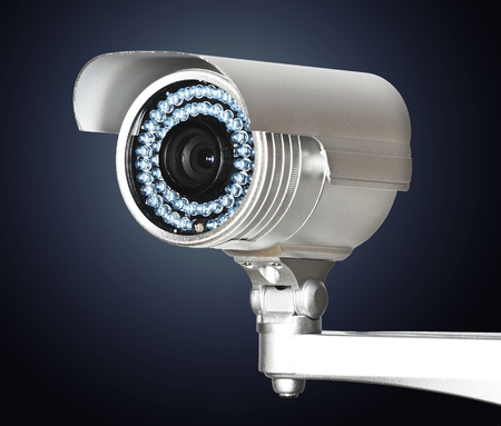 video surveillance: fine image of classic cctv infrared security camera isolated on white