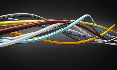 electrical energy: metal cable 3d fine background