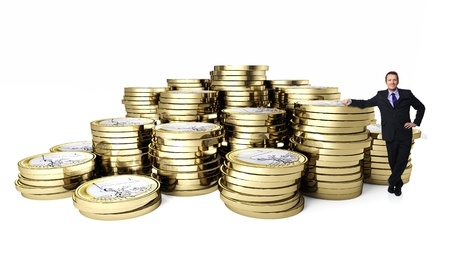 euro 3d coin background and businessman photo