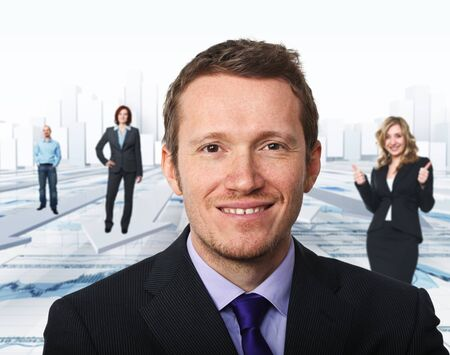 portrait of man and business team photo