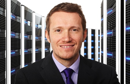 3d image of datacenter and businessman photo
