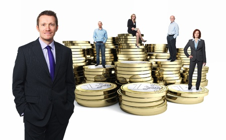 rich people: euro 3d coin and businesspeople