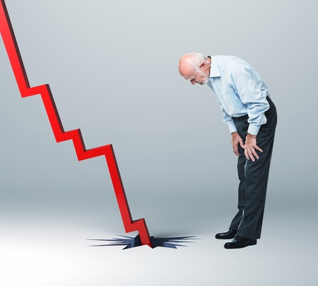 recession: old man look falling financial line Stock Photo