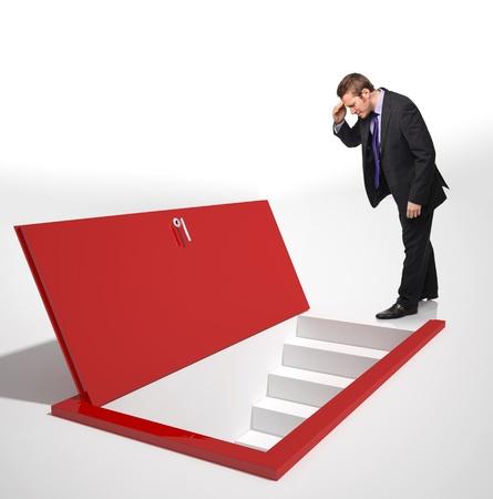 man look into a red door on floor Stock Photo - 12896028