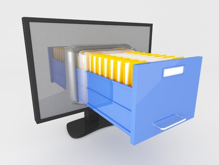 Imagen 3D de la pantalla moderna y el cajón carpeta de archivos Foto de archivo