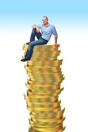 rick: smiling sit man on 3d golden coin pile Stock Photo