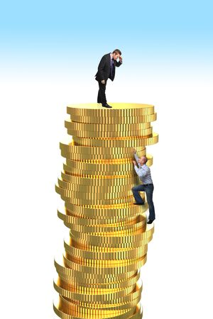 rick: man try to climb golden coin pile Stock Photo