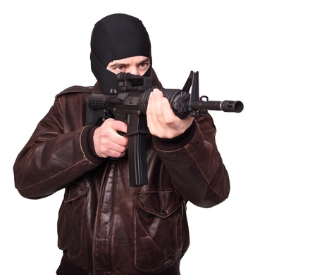 portrait of criminal with m4 rifle on white photo