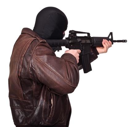 portrait of terrorist back view photo