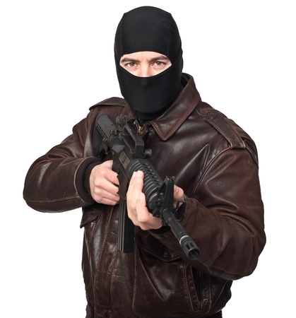 balaclava: portrait of criminal with m4 rifle on white
