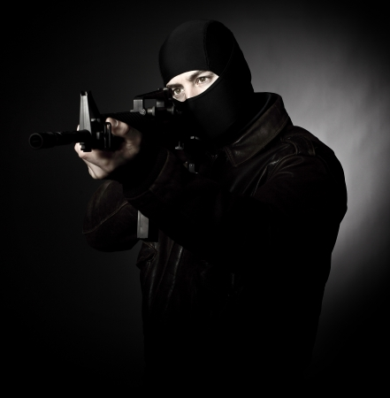 balaclava: terrorist portrait  with m4 weapon Stock Photo