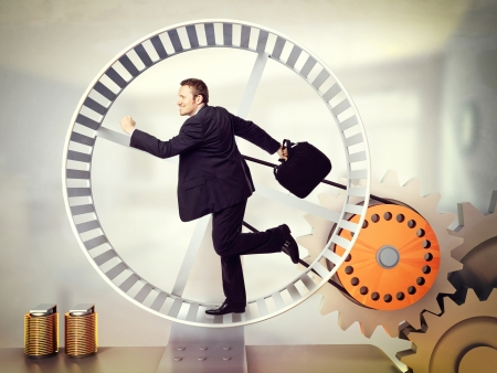 hamster: businessman run on 3d hamster wheel Stock Photo