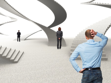 businesspeople and 3d stair abstract background photo