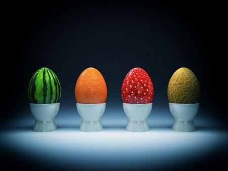 frutas divertidas: huevos de pascua muy extraños para fondo de vacaciones