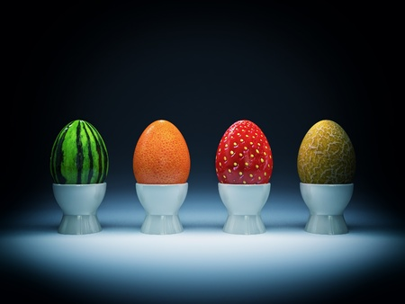 strange: very strange eggs for easter holiday background