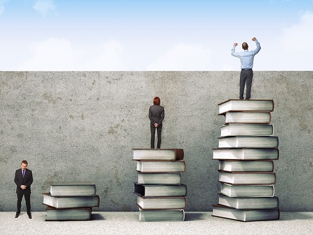 man looking at sky: business people on books pile 3d
