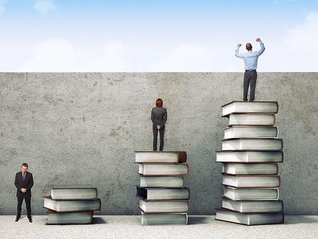 advantages: business people on books pile 3d